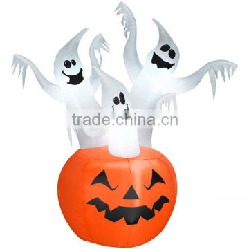 Halloween Inflatable Lawn Decoration, Stacked Ghosts, Lighted, 48-In.