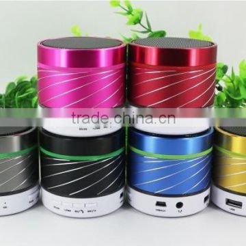 Hot sale ! 2014 New S07U Portable Fashion Metal Bluetooth Wireless Speaker Hands-free Calls FM Radio LED Light 6 Color