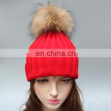 Hand made wholesale 100% acrylic striped pattern winter hats crochet hats big fur ball poms hats