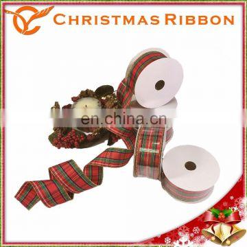 10 yards 1.5 inch Red and Green Plaid Christmas Ribbon Available