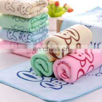 High Quality Lovely Rabbit Printed Brushed Microfiber Face Towel