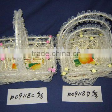 Yellow cloth and paper rope woven iron frame non power flower basket for Babies
