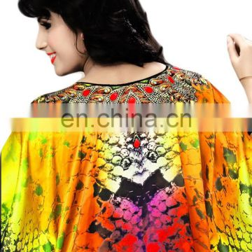 Fabulous 3D Digital Printed Party Wear Kaftan (kaftans 2017) (kaftan dress)
