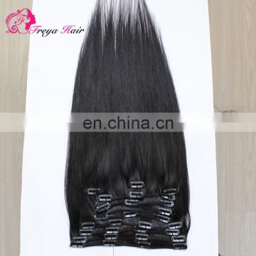Raw unprocessed virgin indian hair clip in remy human hair extensions