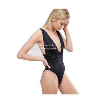 New style nylon bathing suit pure color sexy ladies' swimsuit solid one piece swimwear
