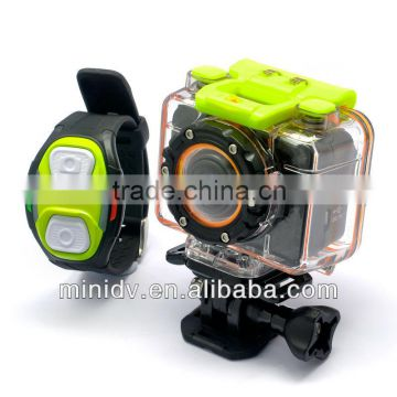 Up to 60FPS Recording 1080P Full HD Sports Action Camera 30M Waterproof with Wireless Wrist Strap Remote Control