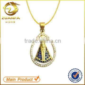 stylish gold plated semi joias pingente micro pave cubic zircon pendant