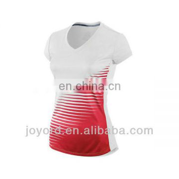 Custom dry fit white and red running shirt for women
