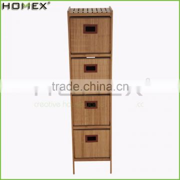 4 Drawers Bamboo Bathroom Shelf and Storage Rack/Homex_FSC/BSCI Factory