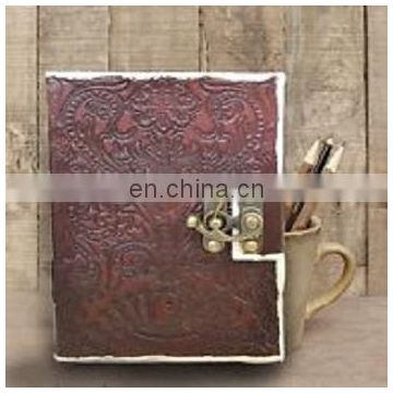 Handcrafted Indian Embossed Leather Journal w/ Wrap Tie Yellow color Diary gift