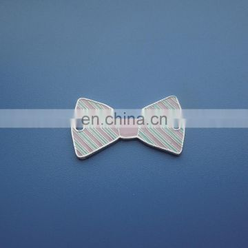plating glossy silver engraved soft enamel colorful design metal bowknot shape design dangler charm pendant
