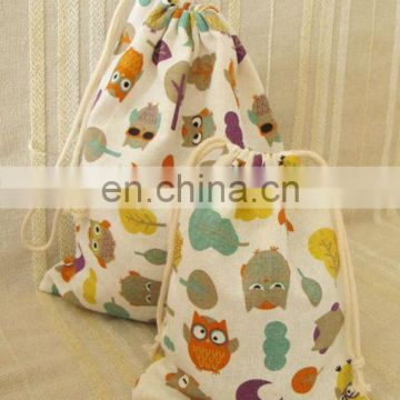 2014 wholesale cotton fabric drawstring bag