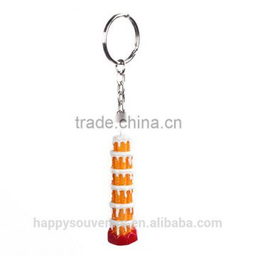 Lovely resin Italy scenery cartoon keychain /the Leaning Tower of Pisa souvenirs