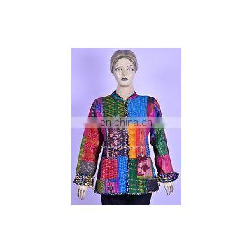 Indian Patchwork Vintage Design kantha Quilted Silk Patola Kantha Jacket Long Floral Sleeves ladies Reversible Coat Gudri Jacket