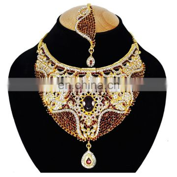 Wedding Designer Gold Plated Bollywood Party wear Jewelry Necklace Set Dark Red Color
