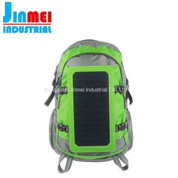 Exquisite hiking chargeable high efficiency black charger bag solar backpack