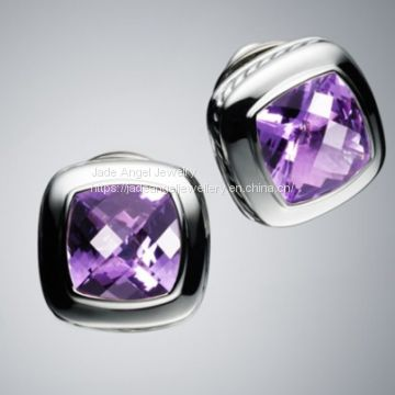 Designs Inspired David Yurman  Sterling Silver 11mm Amethyst Albion Earrings