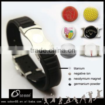 2016 fashion customized golf ball marker magnetic silicone bracelet with stainless steel buckle