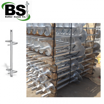 Galvanized square bar steel pile with helical plates