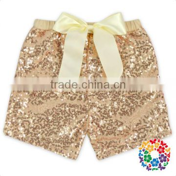 Wholesale Baby Summer Shorts Champagne Cotton Sequin Baby Girls Shorts With Bow