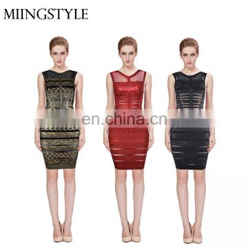 women dresses 2016 Black Cocktail Evening Party sleeveless bandage cocktail party dress for lady