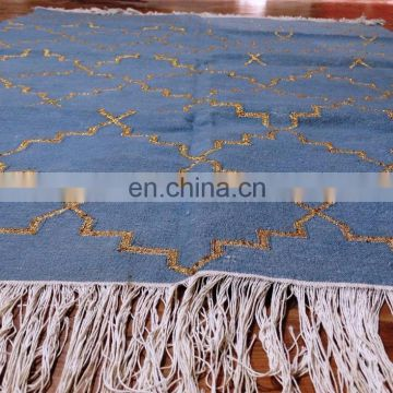 "Vishal Handicraft-74x50"" Grey & Golden Kangri handmade cotton Carpet/Indian Floor Throw Cotton Carpet"