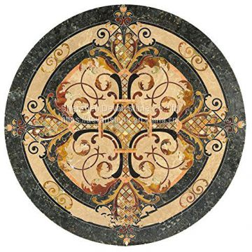 Arabic marble floor flower tile waterjet medallion