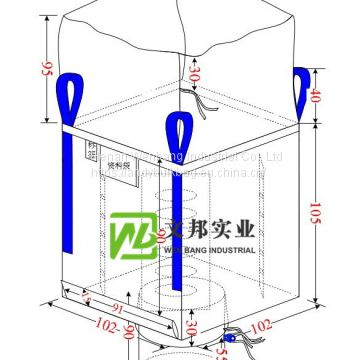 big bag ton bag with baffle inside for wood pellet