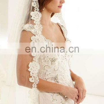 Latest White Cap Sleeve Lace beautiful wedding Gown bridel