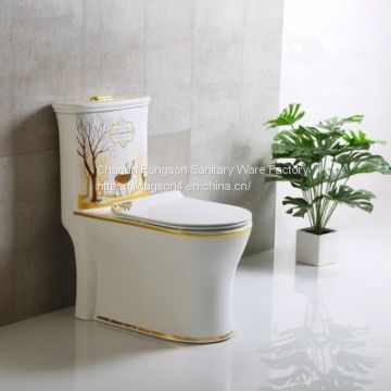 Ceramic new golden luxury one piece bathroom project toilet bowl wc with slow down cover