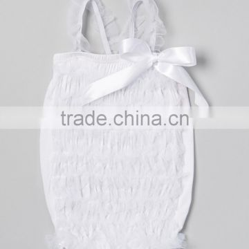 Newest White Ruffle Infant Romper With Bow Cute Toddler Girl Romper Pretty Kids Cothing Z-RR80804-13