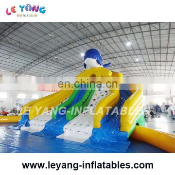 Penguin water slide with sealed swimming pool / mobile amusement inflatable aqua park
