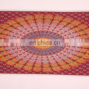 100% cotton indian wholesale custom printed indian mandala tapestry