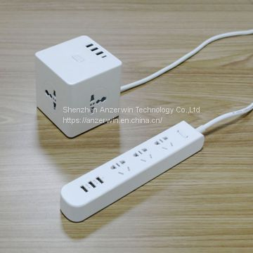 1.5m power supply cable cubic smart electrical power strips with type C 30W&USB charger 10W