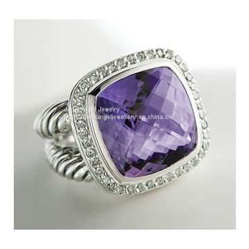 Inspired DY Sterling Silver 14mm Amethyst Albion Ring for Women