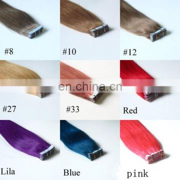 Quality blue color tape in hair extensions