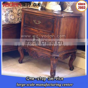 antique wood and walnut color bedside table with 3 drawer,mirrored night stand furniture bedroom