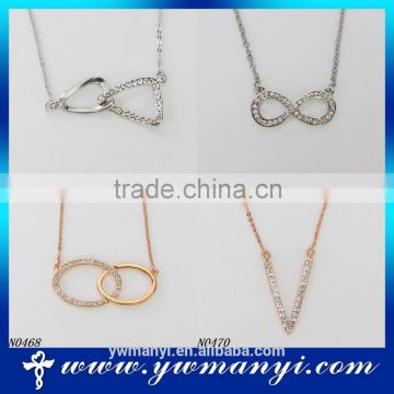 China jewelry wholesale 18K gold necklace with rhinestone diamond necklace N0420
