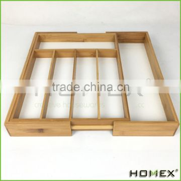 Adjustable wooden bamboo cutlery organiser tray Homex BSCI/Factory