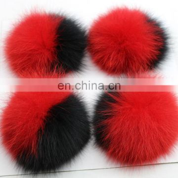Bi-color fox fur pom pom double color fur bobble for keyrings