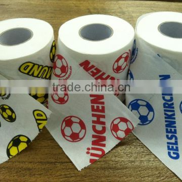 Hot selling 100% virgin wood pulp ultra soft 3-ply printed scented dissolvable toilet tissue paper jumbo roll