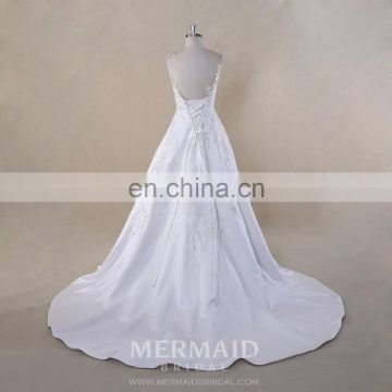 New lace satin backless sexy wedding dress with detachable organza skirt