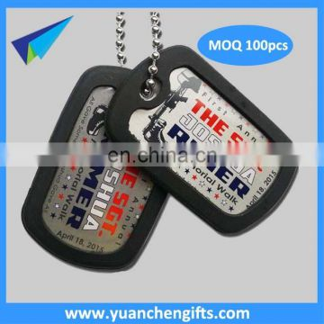 New blank custom military dog tag with black silicone