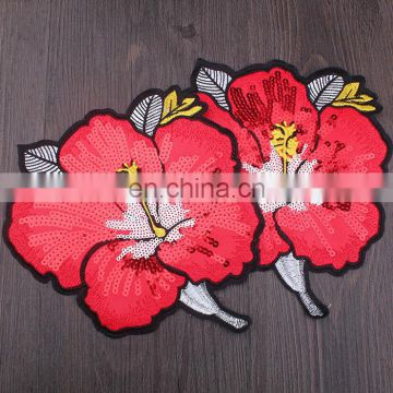 Wholesale Fashion Cheap Embroidery Red Peony Flower With Sequins
