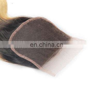 Wholesale virgin brazilian hair ombre blonde with root black two tone lace closure piece