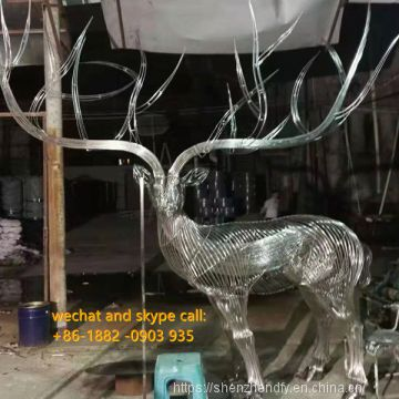 Beautiful Stainless Steel Hollow Animal Sculpture Animal Statue For Decor Customized Deer Horse