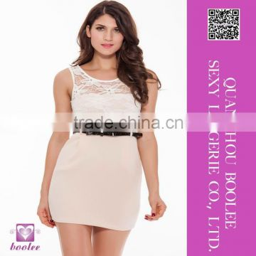 New Arrival sexy clubwear dress and Beige sleeveless lace bag hip skirt for woman