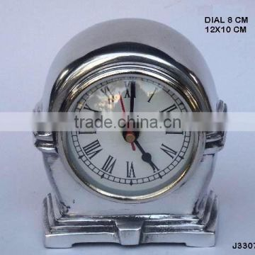 half Round Top cast Alumnium table clock with stepped base available in other finishes available