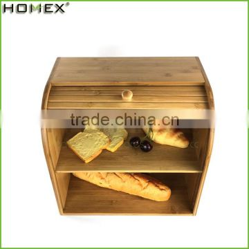 Bamboo Rolltop Bread Box / large capacity bread storage Homex-BSCI