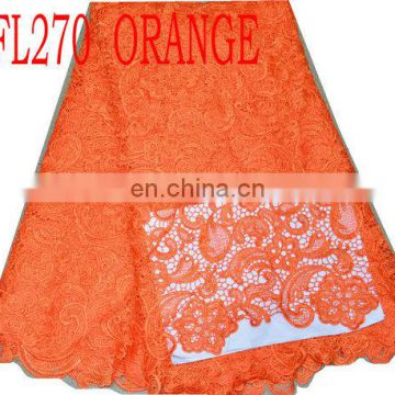 african french lace with sequins(FL270 orange )